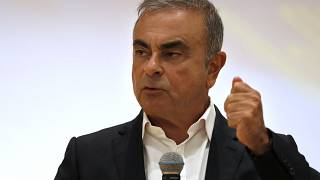 Former Nissan Motor Co. Chairman Carlos Ghosn at a press conference in Lebanon on Sept. 29, 2020.