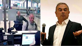 À gauche, Michael L. Taylor et George-Antoine Zayek, vidéosurveillance à l'aéroport d'Istanbul, le 30/12/2019. À droite, Carlos Ghosn au Liban, le 29/09/2020.