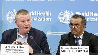 Michael Ryan (L), Executive Director of WHO's Health Emergencies programme, and WHO chief Tedros Adhanom Ghebreyesus on Feb. 24, 2020.