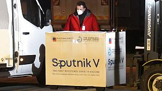 Russia's Sputnik V coronavirus vaccine arrives at Kosice Airport, Slovakia, March 1, 2021.