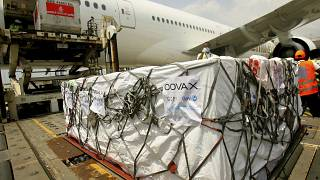 A shipment of COVID-19 vaccines distributed by the COVAX Facility arrives in Ivory Coast, Friday Feb. 25, 2021.