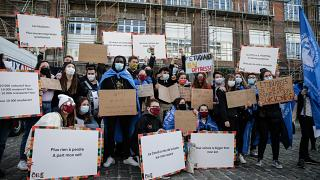 Students rally at the central university of Brussels to protest over economic difficulties sparked by the Covid-19 pandemic, in Brussels on March 1, 2021.