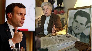 À gauche, Emmanuel Macron, le 16/02/2021 à Paris (AP). À droite, Malika Boumendjel, veuve d'Ali Boumendjel, le 5/05/2001, à Puteaux, France (AFP archives)