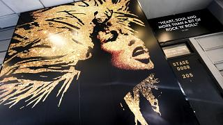 """""""Tina - The Tina Turner Musical"""" poster outside the Lunt-Fontanne Theatre during Covid-19 lockdown"""