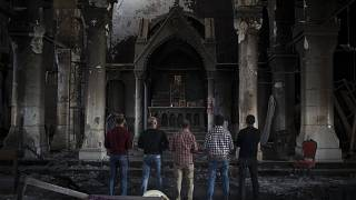 File photo of the Church of the Immaculate Conception, damaged by Islamic State fighters during their occupation of Qaraqosh, east of Mosul, Iraq.