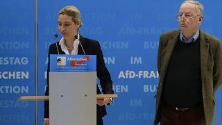 """Archives - Alice Weidel (à gauche) et Alexander Gauland, les deux leaders du parti """"Alternative pour l'Allemagne"""" (AfD), à Berlin, le 15/01/2019"""