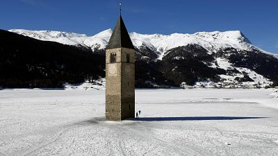 Graun in South Tyrol in Northern Italy, is one of hundreds of drowned European towns