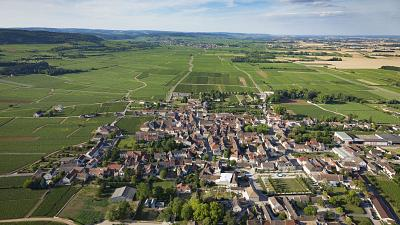 Aerial view of the village of Puligny Montrachet and surrounding vineyards