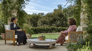 Meghan, The Duchess of Sussex, left, in conversation with Oprah Winfrey.