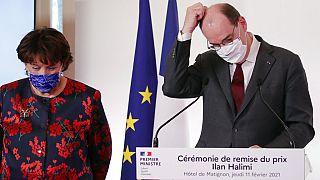 Jean Castex et Roselyne Bachelot à l'hôtel de Matignon, le 11 février 2021, Paris, France.