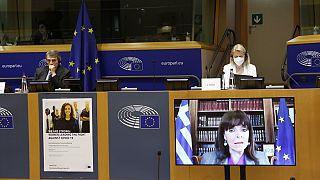 Η Κατερίνα Σακελλαροπούλου στην διαδικτυακή ομιλία της στο Ευρωπαϊκό Κοινοβούλιο