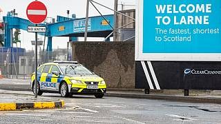 A police vehicle patrols at the Port of Larne in County Antrim, Northern Ireland
