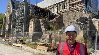 كاتدرائية كرايستشيرش قيد الترميم بعد عشر سنوات على الزلزال المدمر، نيوزيلندا