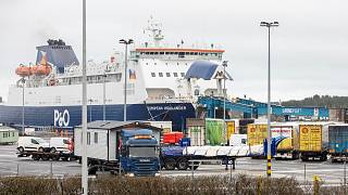 A P&0 ferry arrives at the Port of Larne in County Antrim, Northern Ireland on February 2, 2021.