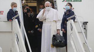 Le Pape François au départ de Rome pour l'Irak, le 5 mars 2021