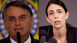A la izquierda, el presidente de Brasil Jair Bolsonaro; a la derecha, la primera ministra de Nueva Zelanda Jacinda Ardern.