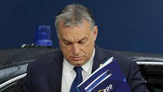 Orbán Viktor magyar miniszterelnök az Európai Néppárt frakcióüléséről érkezik az EU-csúcsra 2018. március 22-én