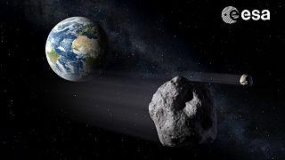 Recreación artística de un asteroide cerca de la Tierra