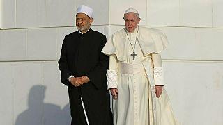 شيخ الأزهر أحمد الطيب رفقة البابا فرنسيس في أبو ظبي.2019/02/04
