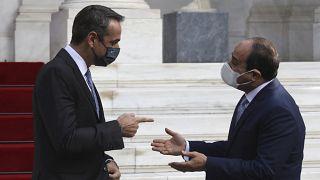 Yunanistan Başbakanı Kiryakos Miçotakis, Atina'da Mısır Cumhurbaşkanı Abdülfettah el Sisi'yi ağırladı. 11 Kasım 2020