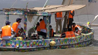The world's first sailing dhow made out of recycled plastic sails the waters of Lake Victoria in Kenya.