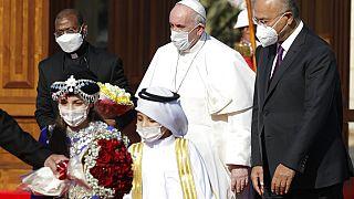 O Papa Francisco foi recebido pelo presidente iraquiano Barham Salih