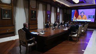 O  Τούρκος Πρόεδρος Ταγίπ Ερντογάν και η Γερμανίδα Καγκελάριος Άγκελα Μέρκελ πραγματοποίησαν τηλεδιάσκεψη