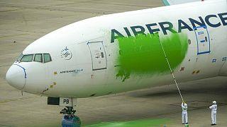 Greenpeace pinta de verde un avión en París para pedir una reducción del tráfico aéreo