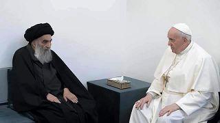 Papa Francisco com o Aiatola Ali Al-Sistani