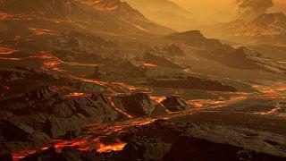 Dünya'dan 26 ışık yılı uzaklıkta keşfedilen Gliese 486b ötegezegenin yeryüzü yapısı illüstrasyonu.