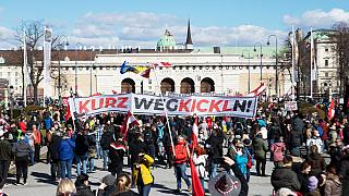 Slogan gegen Sebastian Kurz bei der FPÖ-Demo gegen Corona-Regeln in Wien