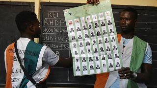 اللجنة الانتخابية المستقلة تقوم بفرز الأصوات بعد إغلاق مراكز الاقتراع خلال الانتخابات التشريعية، في حي يوبوغون بمدينة أبيدجان، 6 مارس 2021.
