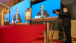 Chinese Foreign Minister Wang Yi during a remote video press conference on the sidelines of the annual meeting of the National People's Congress in Beijin, March 7, 2021.