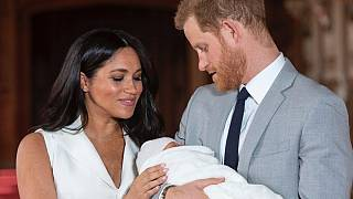 In this Wednesday May 8, 2019 file photo Britain's Prince Harry and Meghan, Duchess of Sussex, pose during a photocall with their newborn son Archie