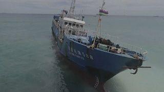 Chalutier échoué au large de l'île Maurice