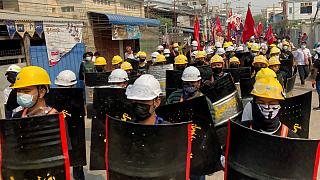 Manifestação pró-democracia em Mandalay, Myanmar
