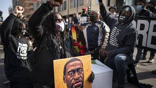 People gathered on Hennepin Avenue on March 7, 2021, in Minneapolis, to mourn the death of George Floyd ahead of jury selection.