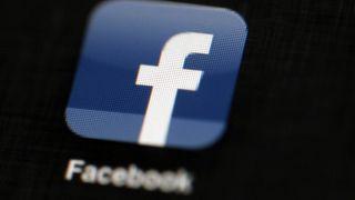 Facebook logo displayed on an iPad