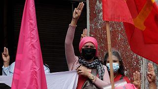متظاهرات في الفلبين بمناسبة اليوم العالمي للمرأة