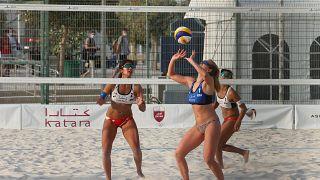 Katar'da kadınlar plaj voleybolu karşılaşması, Fransa-Japonya maçı