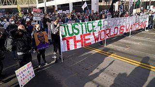 Manifestantes en Mineápolis, Estados Unidos