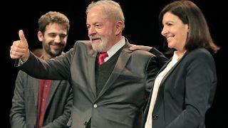 Бывший президент Бразилии Луис Инасиу Лула да Силва и мэр Парижа Анн Идальго / 2 марта 2020 г.