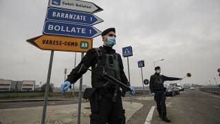 File photo: Carabinieri officers patrol one of the main access road to Bollate, in the outskirts of Milan, Italy. Feb 18, 2021.