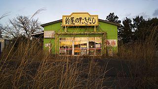 Un restaurant abandonné dans la zone interdite de la ville de Tamioka, 27 février 2021