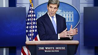 FILE - In this Jan. 27, 2021, file photo, Special Presidential Envoy for Climate John Kerry speaks during a press briefing at the White House in Washington.