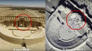Footage taken from the Russian Defense Ministry official website, purports to show the Roman-era amphitheater on June 6, 2016, left, and on Feb. 5, 2017, right, in Palmyra.
