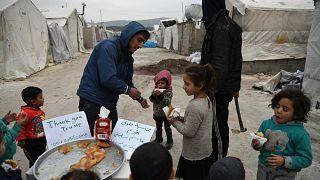 مخيم للنازحين السوريين بالقرب من دير بلوط في محافظة حلب، سوريا، 3 كانون الثاني/ يناير 2020