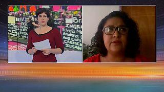 Una imagen de la entrevista con la periodista Perla Blas.