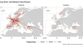 Antes/ después. Líneas con más de 12 vuelos al día en febrero de 2020 y febrero de 2021.