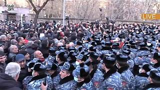168.AM footage of opposition protest against Armenian PM Nikol Pashinyan in Yerevan